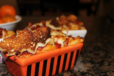Easy Baked Ziti (or Penne) with a Halloween Flare
