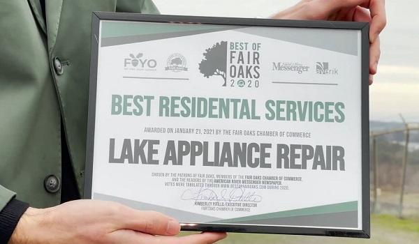Lake Appliance Repair Wins the Best of Fair Oaks 2020 Award!